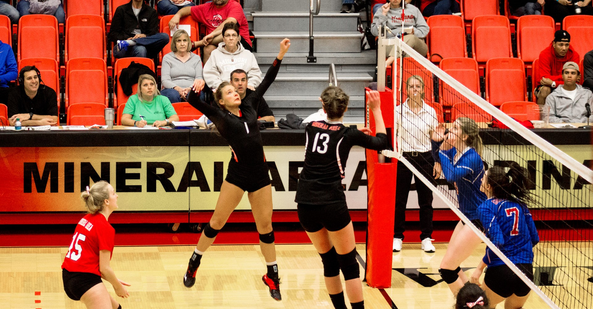 Image shows a volleyball game being played in Mineral Area College's field house