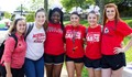 Image shows six female students smiling and posing for a picture in Mineral Area College's outdoor quad