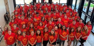 Upward Bound students all wearing their red tshirts